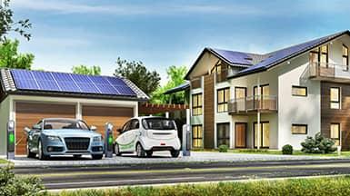 Energie sparen: Elektroautos werden mit Solarstrom geladen