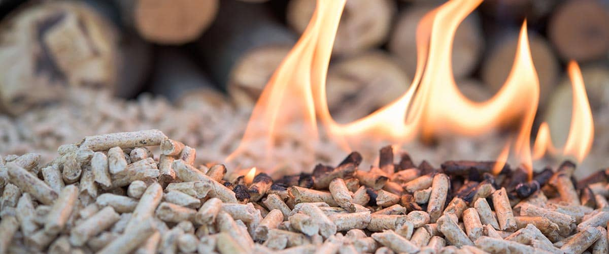 Erneuerbare Energie -Holz: Holzpellet-Feuer