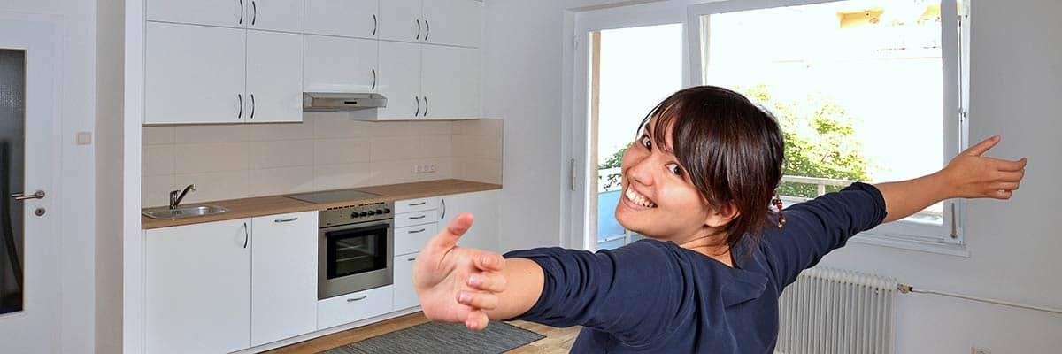 Frau neues Zuhause